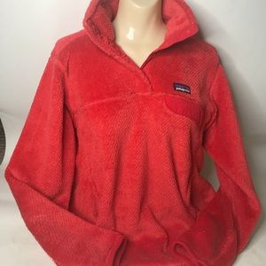 Patagonia red fleece sweater pullover size M